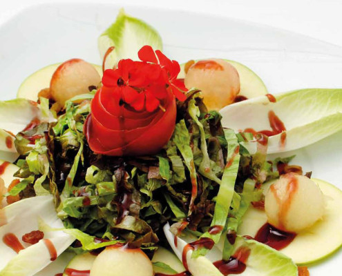Lettuce salad, fruit and raspberry cream