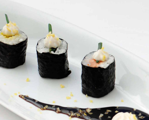Makis with Modena Balsamic Vinegar Cream