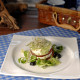 Caprese salad with pesto sauce and apple cream